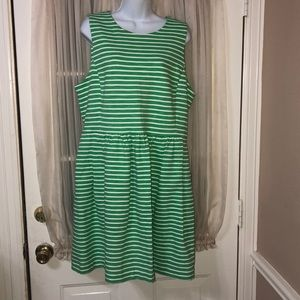 J. Crew Daybreak green and white stripped dress